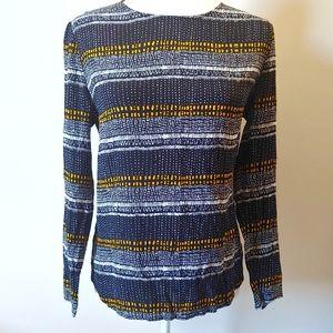 H&M patterned blouse viscose yellow black size 8